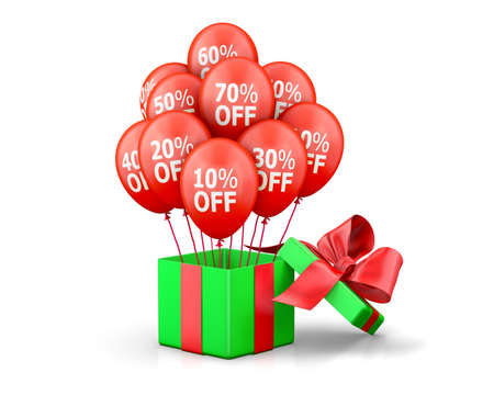 annotation: Balloons With Sale Discounts and with box. 3d rendering