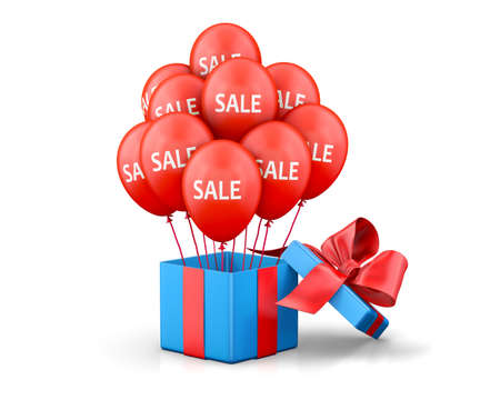 boxing day sale: Balloons With Sale Discounts and with box. 3d rendering