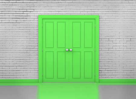 green door: green door and wall interior, 3d rendering Stock Photo
