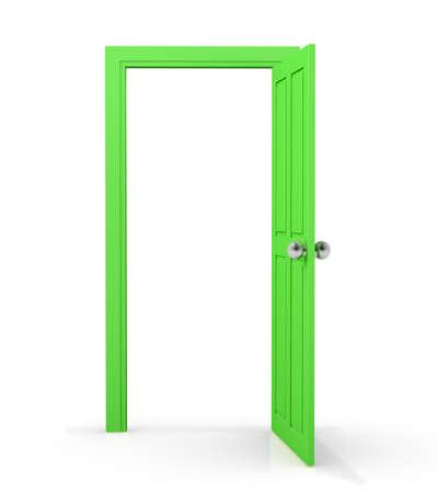 green door: green door on white background, 3d rendering