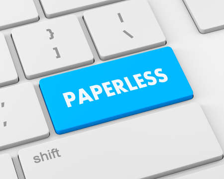 paperless: Paperless word on  keyboard button, 3d rendering