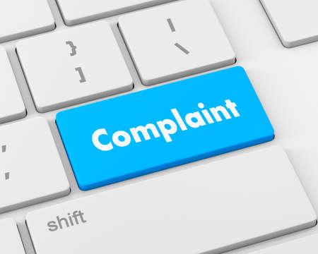 complaint: Complaint button keyboard, 3d rendering Stock Photo