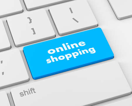 e systems: online shopping button, 3d rendering