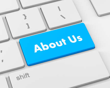 about us: About us message on keyboard, 3d rendering Stock Photo