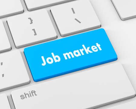 job market: Job market key on the computer keyboard, 3d rendering