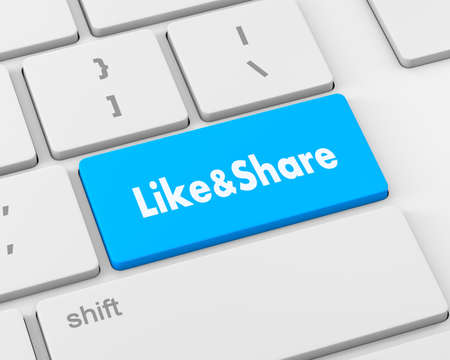 technology agreement: like and share button, 3d rendering