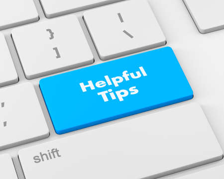 helpful: Text helpful tips button, 3d rendering