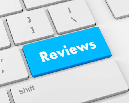 reviews: Text reviews button, 3d rendering