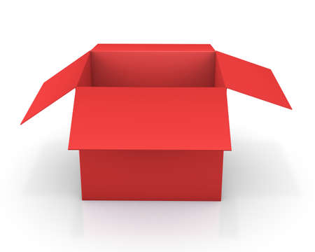 lading: Opened red cardboard package, isolated on white background, 3d rendering