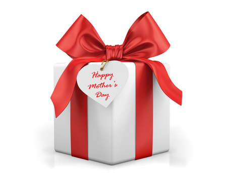 red gift box: red gift box mothers day, 3d rendering Stock Photo