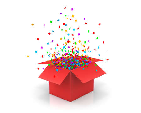 Open Gift Box and Confetti. Illustration 3d rendering Stock Photo