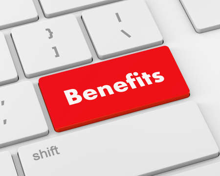 fringe benefit: Benefits Button on Modern Computer Keyboard, 3d rendering