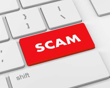 scam: Scam Computer Key, 3d rendering
