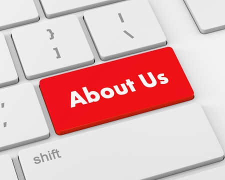 about us: About us texton keyboard, 3d rendering