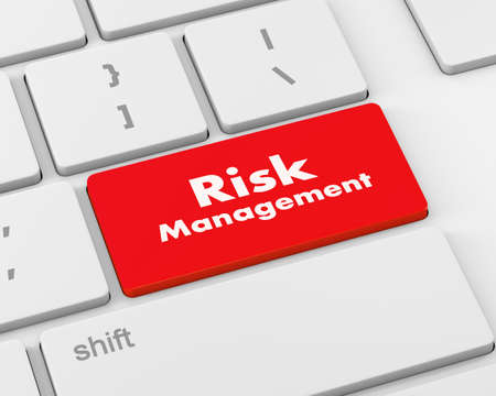 competitiveness: Red Risk Management Button on Computer Keyboard, 3d rendering