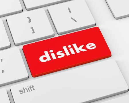 discourage: dislike key on keyboard, 3d rendering