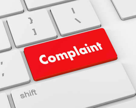 other keywords: Complaint button keyboard, 3d rendering Stock Photo