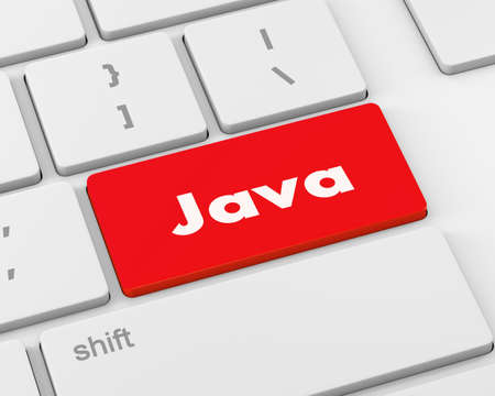 java: Text java button, 3d rendering Stock Photo