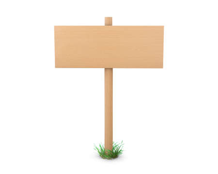 bollard: Wooden  signs board for information and advertising. 3d rendering Stock Photo