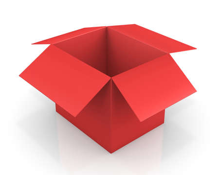 1 object: Opened red cardboard box package, isolated, white background 3d rendering Stock Photo
