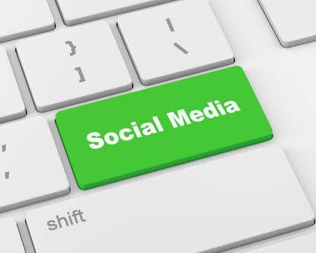 microblogging: Social media keyboard button, 3d rendering
