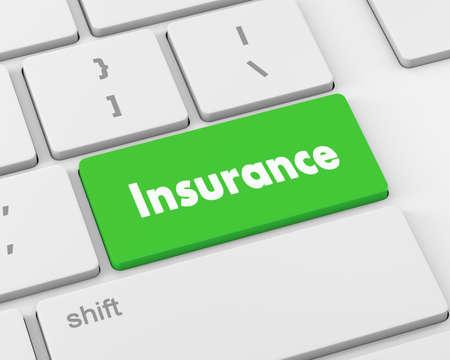 render 3d: Insurance - Business Concept. Button on Modern Computer Keyboard. 3D Render, 3d rendering