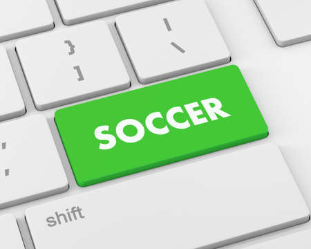 3d button: Soccer 3d button isolated on white, 3d rendering Stock Photo