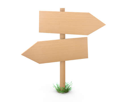 bollard: Wooden pointers and signs board for information and advertising. 3d rendering