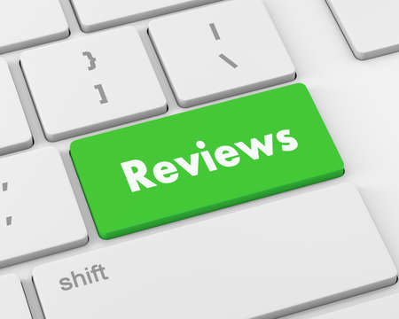 analisys: Text reviews button, 3d rendering