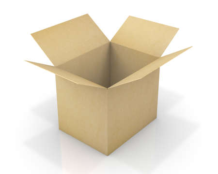 1 object: Opened cardboard box package, isolated, white background 3d rendering