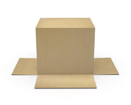 lading: Opened cardboard package box upside down, isolated, white background 3d rendering