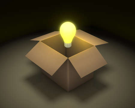 constraints: Opened cardboard box with lit light bulb on background with reflection, thinking outside the box concept 3d rendering