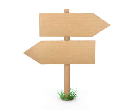 multidirectional: Wooden pointers and signs board for information and advertising. 3d rendering