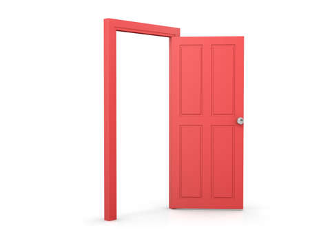 red door: 3d red door on white background