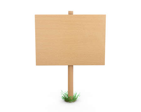 bollard: Wooden signs board for information and advertising. 3d rendering