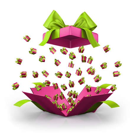 love blast: Gift box open emitting little ,pink gift boxes with a green ribbon 3d  rendering Stock Photo