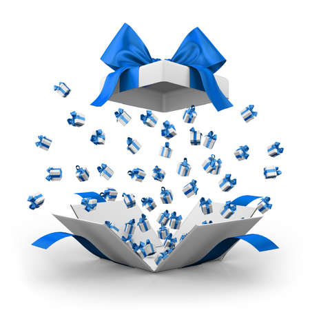 gift box open: Gift box open emitting little ,gift boxes with a blue ribbon 3d  rendering