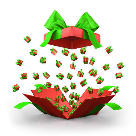 emitting: Gift box open emitting little ,red gift boxes with a green ribbon 3d  rendering
