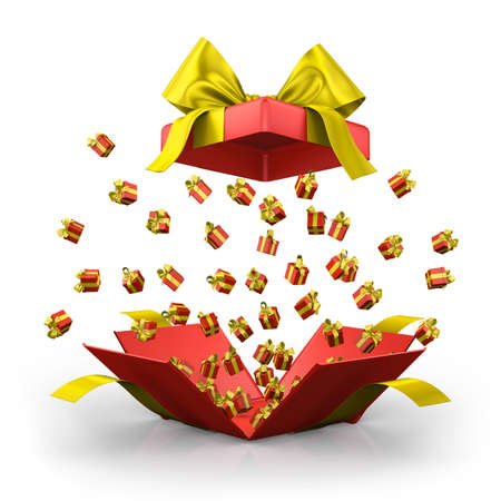 emitting: Gift box open emitting little ,red gift boxes with a yellow ribbon 3d  rendering