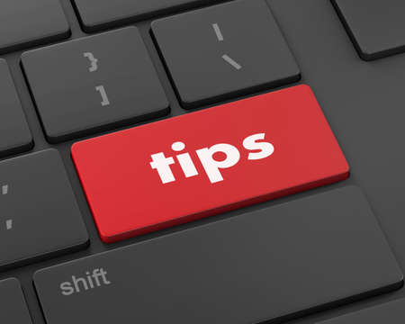 pc icon: keyboard key, tips button on computer pc icon, 3d rendering Stock Photo