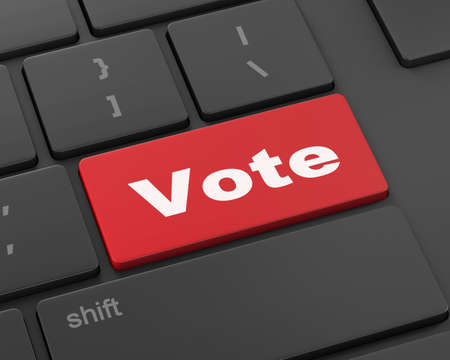 elect: vote button on computer keyboard showing internet concept, 3d rendering