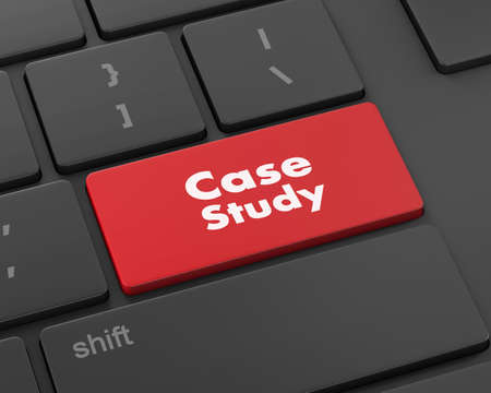 the case selected: Education concept: computer keyboard with word Case Study, selected focus on enter button background, 3d rendering