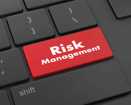 damage control: Orange Risk Management Button on Computer Keyboard. Business Concept, 3d rendering Stock Photo
