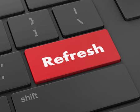 refresh button: Text refresh button, 3d rendering
