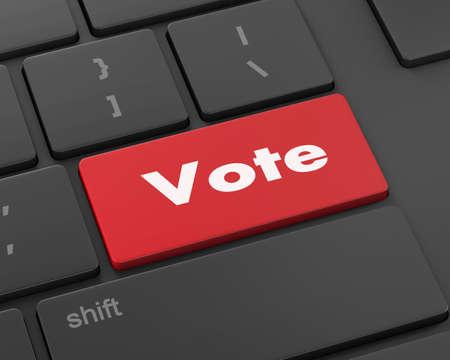 vote button: Text vote button, 3d rendering Stock Photo