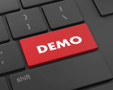 demo: Text demo button, 3d rendering Stock Photo