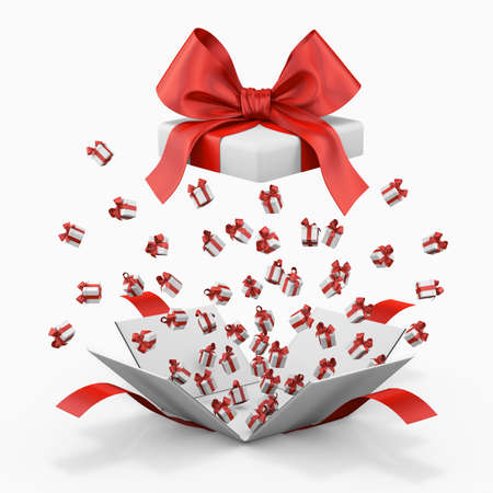 love blast: Gift box emitting little gift boxes with a red ribbon, Gift box  3d rendering