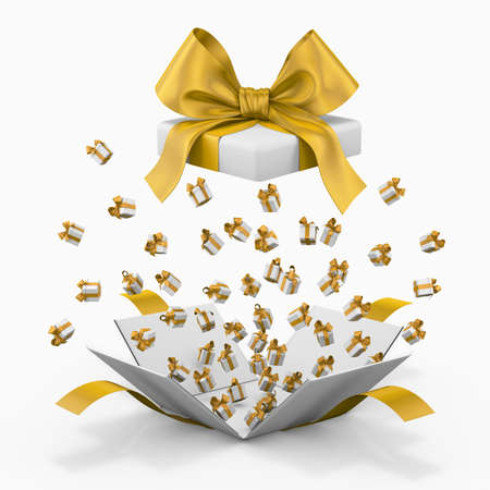 love blast: Gift box emitting little gift boxes with a yellow ribbon, Gift box  3d rendering
