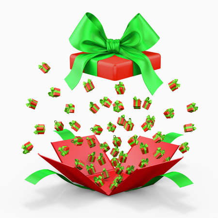love blast: Gift box emitting little gift boxes with a red ribbon, Gift box  opening 3d rendering