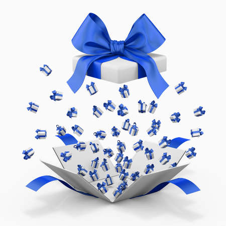 box open: Gift box emitting little gift boxes with a blue ribbon, Gift box  3d rendering Stock Photo